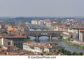 Florence cityscape with bridges over Arno river