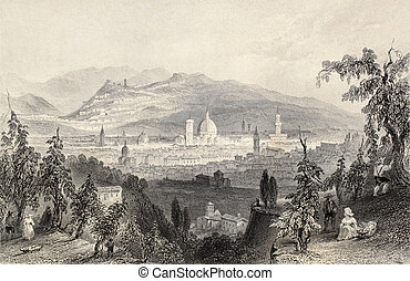 Florence - Antique illustration of Florence cityscape,...