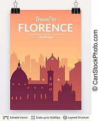 Florence famous city scape. - Flat well known silhouettes....
