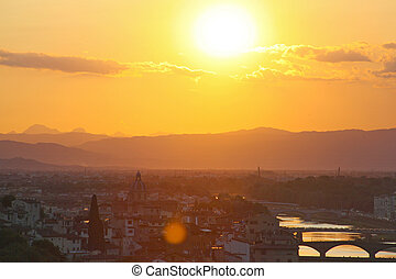 Florence (Firenze) Italy city view, in the evening with pink and blue skyline