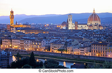 Florence (Firenze) skyline with Palazzo Vecchio and Duomo ,...