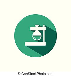Florence flask icon with shadow on a green circle. Vector pharmacy illustration
