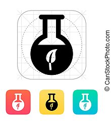 Florence flask with eco substance icon. Vector illustration.