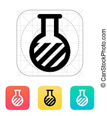 Florence flask with substance icon. Vector illustration. -...