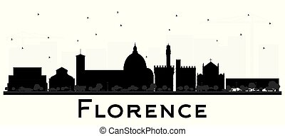Florence Italy City Skyline Silhouette with Black Buildings...