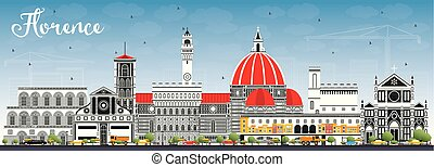 Florence Italy City Skyline with Color Buildings and Blue...