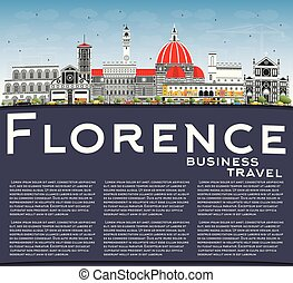 Florence Italy City Skyline with Color Buildings, Blue Sky...