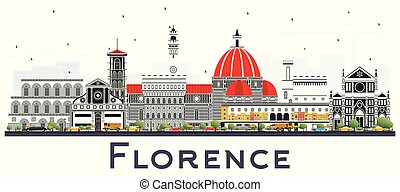 Florence Italy City Skyline with Color Buildings Isolated on...