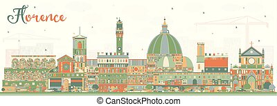 Florence Italy City Skyline with Color Buildings. Vector...
