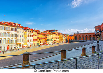 FLORENCE, ITALY- MAY 14, 2017:  Pitti Square (Piazza pitti)  in Florence - city of the Renaissance on Arno river. Italy.