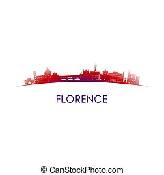 ?????? - Florence, Italy skyline silhouette. Vector design...
