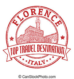 Florence, Italy stamp - Top travel destination grunge rubber...