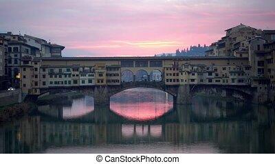 Florence, Italy. The Ponte Vecchio bridge during sunrise....