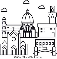 florence italy vector line icon, sign, illustration on background, editable strokes