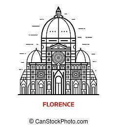 Florence Landmark Vector Illustration - Travel Florence...