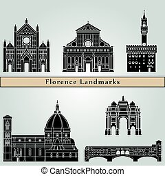 Florence landmarks and monuments isolated on blue background...