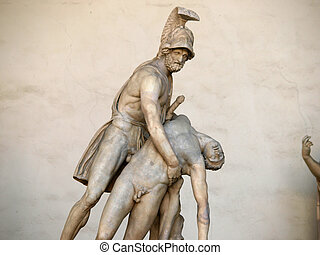 Florence - Menelaus supporting the body of Patroclus. Menelaus supporting the body of Patroclus Roman sculpture It is an ancient Roman sculpture from the Flavian era, copied from a Greek original from