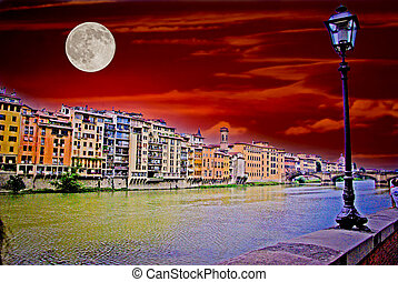 Florence Moon - Full moon against a red sky along the river...