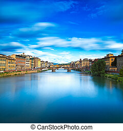 Florence or Firenze, Santa Trinita and Old Bridge landmark...