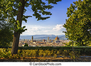 Florence or Firenze sunset aerial cityscape from a public garden.Tuscany, Italy
