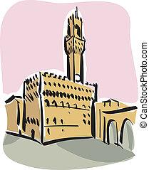Florence (Piazza della Signoria) - Illustration of Piazza...