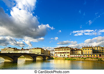 Florence, Ponte alla Carraia medieval Bridge landmark on...