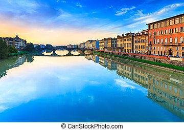Florence, Ponte alla Carraia medieval Bridge landmark on...