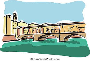 Florence (Ponte Vecchio) - illustration of Ponte Vecchio in...