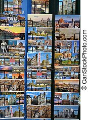 Florence postcards - Many colorful postcards in Florence,...