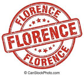 Florence red grunge round vintage rubber stamp