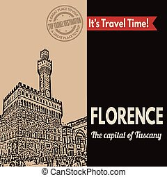 Florence, retro touristic poster