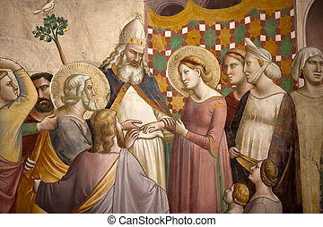 Florence - Santa Croce: Frescoes in the Baroncelli Chapel....