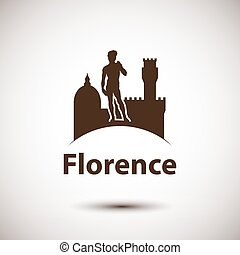 Florence silhouette icon, Detailed skyline with greatest...