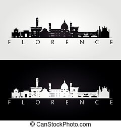 Florence skyline and landmarks silhouette