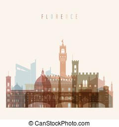 Florence skyline detailed silhouette.