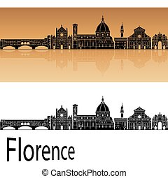 Florence Skyline - Florence skyline in orange background in...