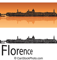 Florence skyline in orange background in editable vector...