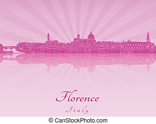 Florence skyline in purple radiant orchid