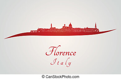 Florence skyline in red