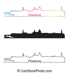 Florence skyline linear style with rainbow