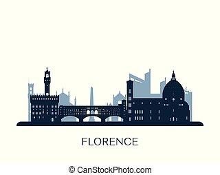 Florence skyline, monochrome silhouette. Vector...