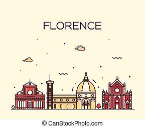 Florence skyline silhouette vector linear style