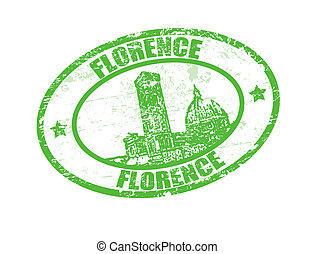 Florence stamp - Grunge rubber stamp with the word Florence...