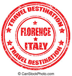 Florence-stamp - Grunge rubber stamp with text Florence-...