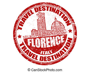 Florence stamp - Grunge rubber stamp with the text travel...