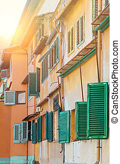 Florence street, traditional authentic house. Italy, Firenze