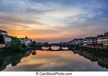 Florence Sunset on the bridge Carra