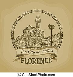 Landscape of Florence ( The City of Lillies) on vintage postcard, vector illustration