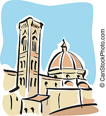 Illustration of the Duomo and Giotto's bell tower in florence