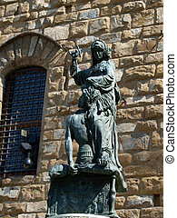 Florence - The statue of Judith and Holofernes. The statue...